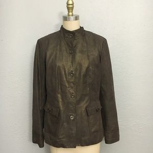 Alfani suede metallic leather button up jacket